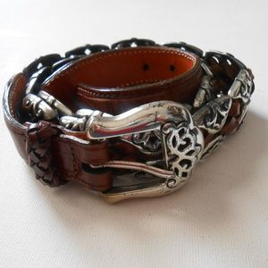 Woven Leather Concho Belt